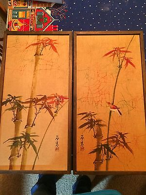 """2-Antique Vintage Chinese Watercolor Paintings Framed  23""""x 11"""""""