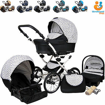 Retro Baby Pram 3in1 Car seat Buggy Stroller Pushchair Travel System 15 COLOURS
