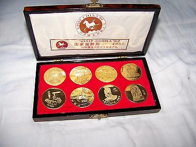Rare set 8 brass Chinese landmark person coins Medals Visit China 1992 Rose Box
