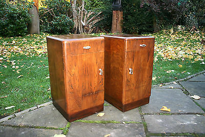 Pair Of Retro Vintage Walnut Bedside Cabinets Both With A Drawer & A Cupboard