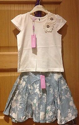 Monsoon Girls Summer Floral Sequin 2x Tops & Skirt Outfit 3-4 Years. BNWT