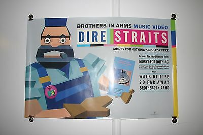 Vintage 1986 Dire Straits Brothers In Arms Record Store Promotional Poster