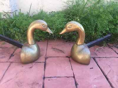 Pair Of 20Th C Brass Distinctive Duck  Goose Figural Andirons
