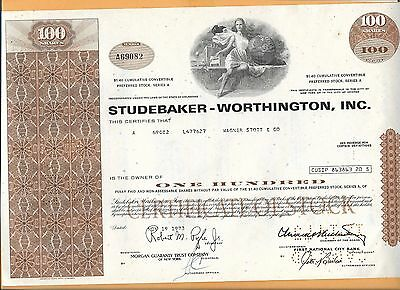 Studebaker Worthington Inc 100 Shares  Vintage Stock Certificate 1973
