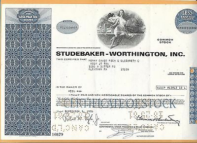 Studebaker Worthington Inc 100 Shares  Vintage Stock Certificate 1976