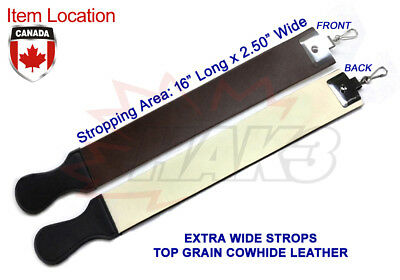 "New Extra Wide 2.50"" Cowhide Leather Strop For Straight Razor + Strop Paste"