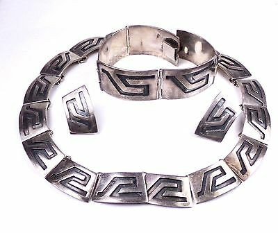 REYNA TAXCO Sterling Silver Set Suite Necklace Bracelet Earrings 3 PC signed 925