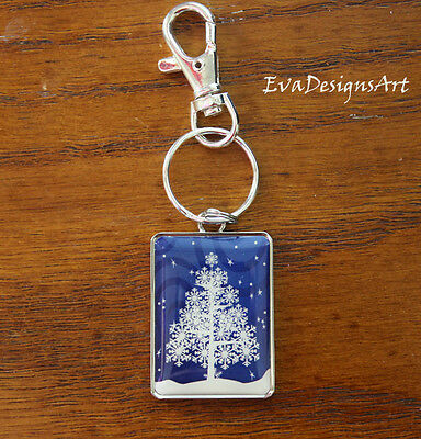 Key Chain Metal Accessory Rectangle Holiday Christmas Winter Art