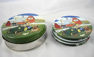 John Deere Coasters 6 with Tin Holder by Donald Zolan Children Farm Scenes HTF