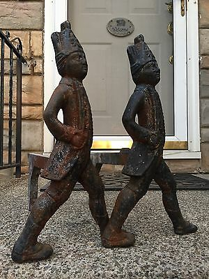 Antique Fireplace Cast Iron Andirons Hessian Soldiers With Swords & Firedogs