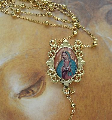 New Our Lady Guadalupe St. Jude Epoxy PictureMedal Rosary Necklace 20 inch long