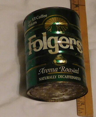 vintage Folgers Aroma Roasted Naturally Decaffeinated Coffee Tin Can Empty