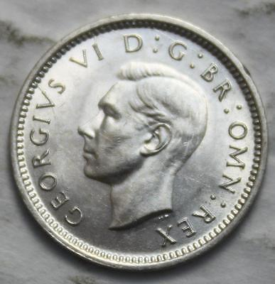 Great Britain 1941 Silver Threeprence, High Grade Mint State & Lustrous