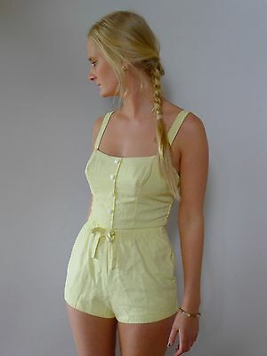 vintage retro true 50s 8 XS yellow cotton swimsuit playsuit excellent