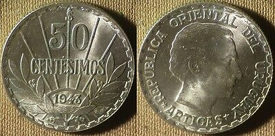 Uruguay : 1943So 50  Ct   BU Beautiful  # 31   IR4081