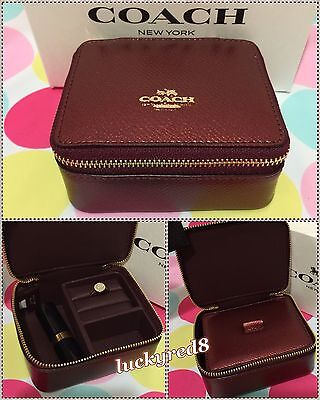 NEW COACH Leather Jewelry Box /Cosmetic Case  Metallic Cherry F66502 $100