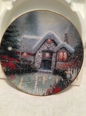 Thomas Kinkade Woodman's Thatch Cottage Knowles China Plate COA Original Package