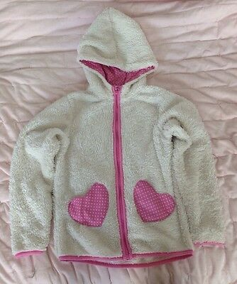 H & M Girl's White Fleece Jacket Age 6-8 Years EUR 122/128