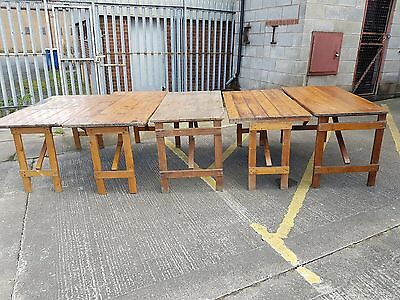 Vintage Pitch Pine Trestle Folding Table Market Event Carboot Industrial Salvage