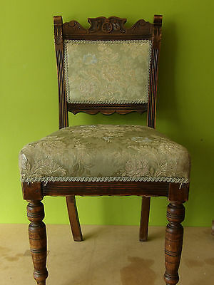Antique Ladies Bedroom Hall Chair - Carved Panel  Upholstered Seat  Turned Legs