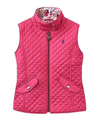 HALF PRICE NEW SEASON Joules Girls Jilly Pink Quilted Gilet Ages   2 - 12 Y