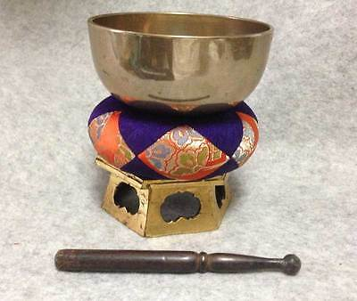 "Buddhist Bell Set 4.33"" Japanese Brass Rin Singing Bowl Gong Vintage S005"