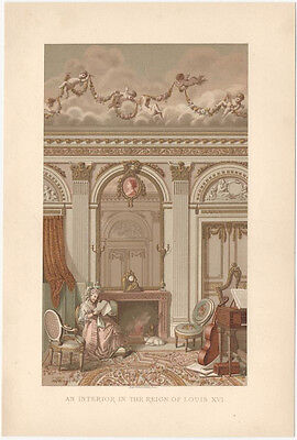 "Beautiful Victorian Chromolithograph of ""Interior in the Reign of Louis XVI"""