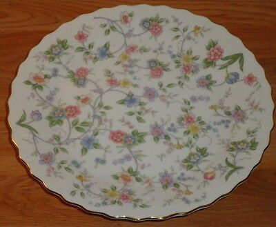"""CAKE PLATE STAND on PEDESTAL porcelain floral w/gold rim Andrea by Sedek 10.5""""W"""