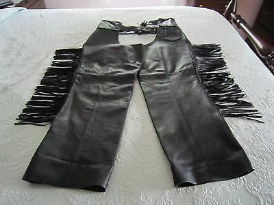 Men's MM Black Leather MOTORCYCLE HARLEY CHAPS Sz XXXL Braided & Fringed Sides