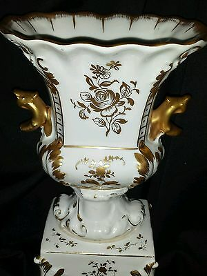 Old Paris Porcelain Pottery Hand Painted Signed Mantle Footed Urn Vase France