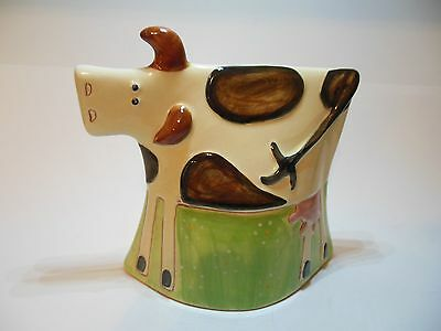 Ceramic Pottery Bell Shaped COW Figurine Art Flat Head Unique