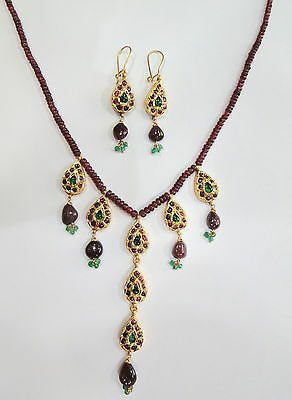 Vintage antique 20K Gold jewelry Precious gemstones necklace & earring pair