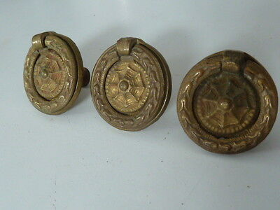 Set of 3 Round Ornate Drawer Hardware / Pulls w Screws