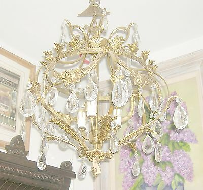 Reduced!! Fabulous Embossed Brass&Crystal  Chandelier Nashville Architect. Salv.