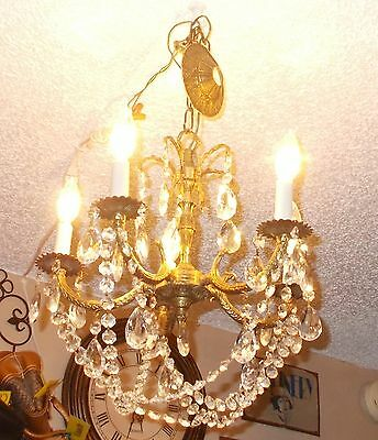 "Dramatic  Antique Spanish Brass 5 Arm Chandelier w/ Unique Button Prism ""Basket"""