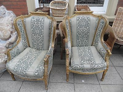 Pair Antique LOUIS XVI French Gold Gilt Carved Regal Throne Wing Back ArmChairs