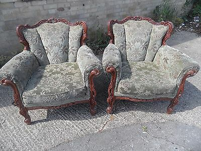 PAIR Antique French LOUIS Shabby Chic Carved Ornate Armchairs Chairs