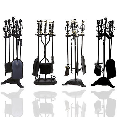 5 Piece Cast Iron Companion Set Black Fireplace Fire Brush Shovel Poker Fireside