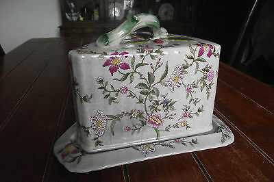 Large Vintage Floral Pottery, Triangular Cheese/ Butter Keeper with Twig Handle