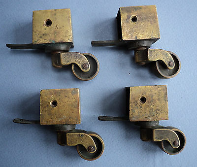 Set of 4 Antique Cast Brass Toe Casters - Federal / Duncan Phyfe Style