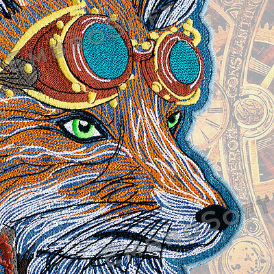 Large Patch Fox in Steampunk style IRON&SEW ON 8.3 x 11.8 inches | 21 cm x 30 cm