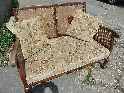 Antique Vintage Small BERGERE Cane Shabby Chic 2 Seater Lounge Sofa Settee Couch