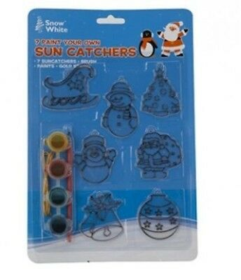 Snow White Paint Your Own Sun Catchers Christmas Decorations Pack of 7