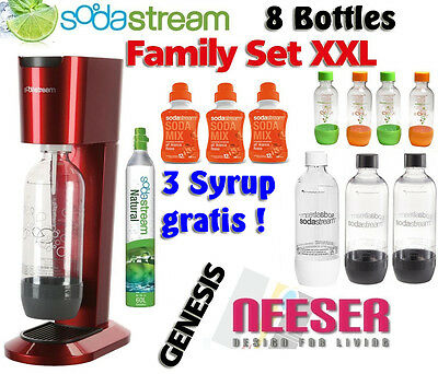 SodaStream Genesis Sparkling Water Maker Gaz 8 Bottle 3 Syrup free Family XXL
