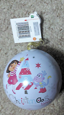 NWT New Dora The Explorer 2 Sided Tin Christmas Ornament That Opens
