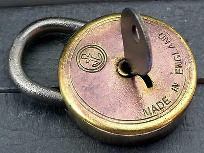 Antique Brass Padlock Circular with Anchor Motif & Key - My Ref P357