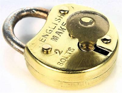 Antique Brass Miniature Padlock ' English Make ' with Key - My Ref P105
