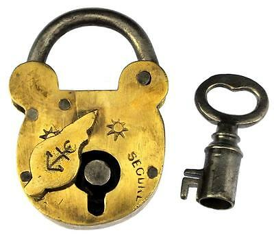 Antique Victorian Brass Padlock with Large Bore Key - My Ref P400