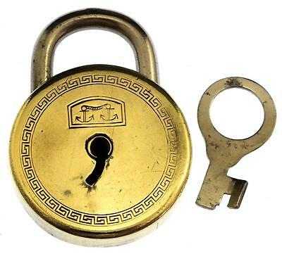 Antique Brass Padlock 1927 by FW Pinson Patent 267348 & Key - My Ref P363