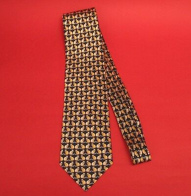 Cat Design Gents Black Silk Tie With Gold & Silver Cats Vet Men's Christmas Gift